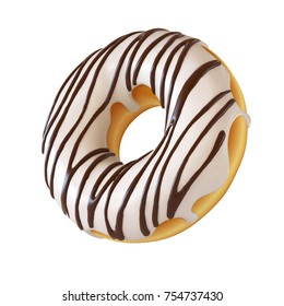 Glazed donut, white frosting doughnut 3d rendering