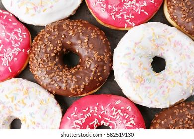 Glazed donuts, closeup