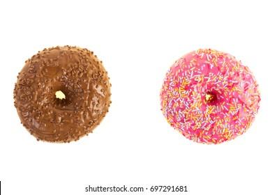 glazed strawberry donuts on white background