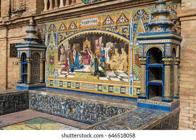 Glazed Tile Bench of The Plaza de Espania, a Square located in the Park in Seville Built in 1928 for the Ibero-American Exposition of 1929. It is a landmark example of the Renaissance Revival style