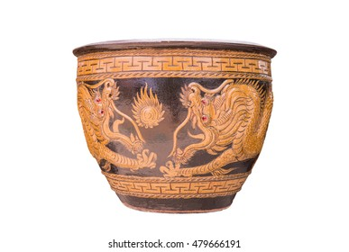 Glazed water jar with dragon pattern from asia, that Used for water storage. Ong. dragons, Ratchaburi