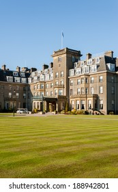 GLEANEAGLES, SCOTLAND - APRIL 18, 2014: Main entrance to Gleneagles Hotel in Scotland, venue for the 2014 Ryder Cup golf championship.
