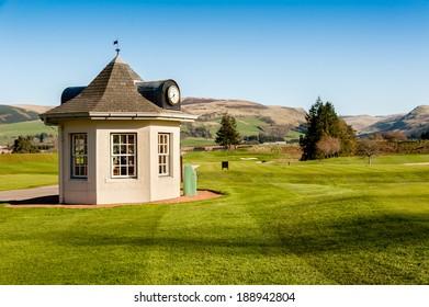 GLEANEAGLES, SCOTLAND - APRIL 18, 2014: Starter's Hut at Gleneagles PGA course in Scotland, venue for the 2014 Ryder Cup golf championship.