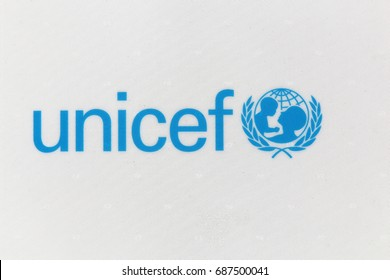 Gleize, France - June 11, 2017: Unicef logo on a panel. Unicef is a United Nations programme that provides humanitarian and developmental assistance to children and mothers in developing countries