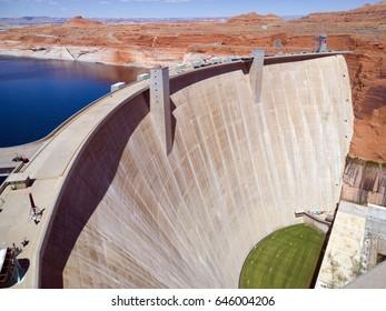 Glen Canyon, a concrete arch-gravity dam which forms Lake Powell, near Page, Arizona, USA