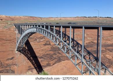 Glen Canyon Dam Bridge over river gorge in Arizona, USA.