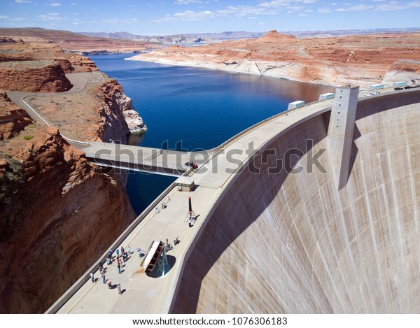 Glen Canyon Dam over the Colorado River in northern Arizona on a sunny Spring day
