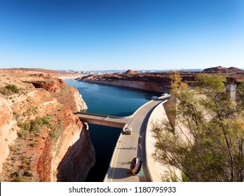Glen Canyon Dam producing clean electricity with hydropower on Colorado River