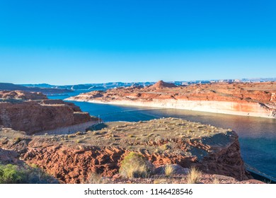 The Glen Canyon Dam recreation area, Lake Powell and overhanging bridge in Page, Arizona, USA