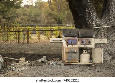 GLEN ELLEN, CALIFORNIA/ USA - OCT 16, 2017: A severely burned property next to an untouched vineyard in Sonoma County. Fires in California have burned over 220,000 acres and destroyed 5700 structures.