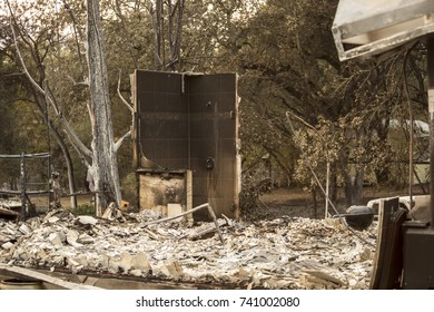 GLEN ELLEN, CALIFORNIA/ USA - OCT 16, 2017: a shower left standing in a burned home in a Sonoma County Neighborhood. Fires in California have burned over 220,000 acres and destroyed 5700 structures.