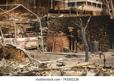 GLEN ELLEN, CALIFORNIA/ USA - OCT 16, 2017: The remains of a home in a Sonoma County Neighborhood. Fires in California have burned over 220,000 acres and destroyed 5700 structures.