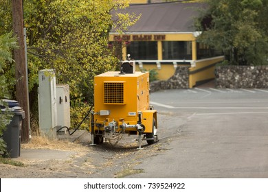 GLEN ELLEN, CALIFORNIA/ USA - OCTOBER 16, 2017: residents of Glen Ellen rely on a generator for power after fires. Fires in California have burned over 220,000 acres and destroyed 5700 structures.