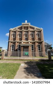 GLEN INNES, AUSTRALIA – April 12, 2019: Facade of the temple of the Masonic Lodge No 44, built in 1934 and replacing a previous temple erected on the site in 1876, in Glen Innes, New South Wales