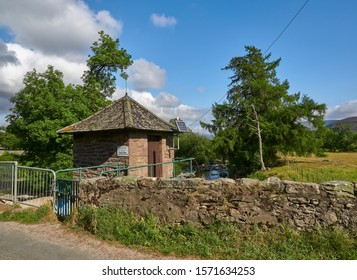 Glen Mark, Scotland - 26th July 2018: The River Mark Gauging Station at the Bottom of the Valley on the small Road Bridge in Invermark in the Angus Glens, Scotland.