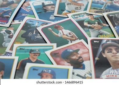 Glen Mills, PA/USA - July 30, 2019: An assortment of baseball cards.