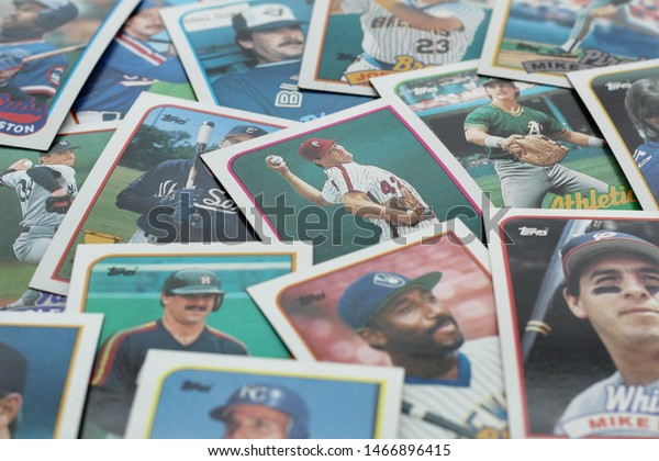 Glen Mills, PA/USA - July 30, 2019: An assortment of baseball cards.