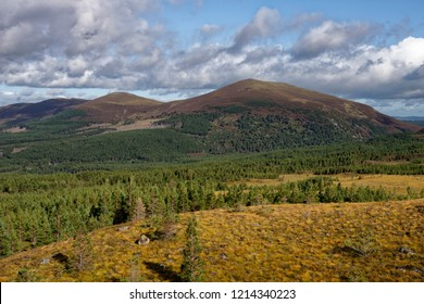Glen More with Creagan Gorm and Meall a Bhuachaille behind, and Ryvoan Pass right, Cairngorms, Scotland