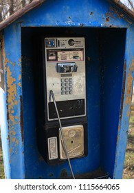 GLEN ROCK, NEW JERSEY – MARCH 25: Verizon outdoor public telephone box on March 25, 2018. The first telephone box was installed in Berlin in 1881.