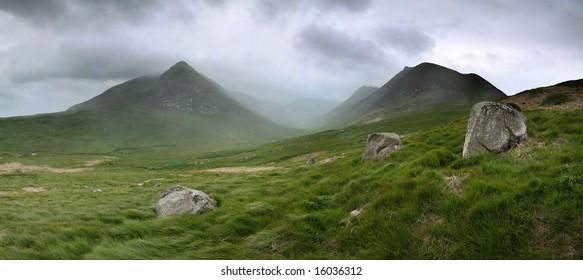 Glen Sannox in Arran in dramatic cloud and rain