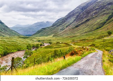 Glencoe or Glen Coe and Glen Etive valley, panoramic view landscape in Lochaber, Scottish Higlands, Scotland, Great Britain, UK. In Glen Etive Skyfall with Daniel Craig as James Bond was filmed