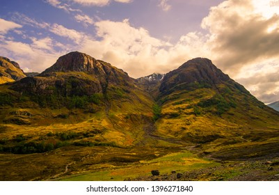 Glencoe or Glen Coe mountains and pass, panoramic view landscape in Lochaber, Scottish Higlands,Scotland. UK.