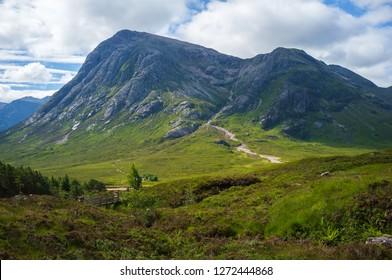 Glencoe valley on West Highland Way in Scotland