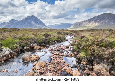Glencoe. View towards Rannoch Moor, River Coupall in foreground, Beinn a' Chrulaiste on left. Highland, Scotland, UK