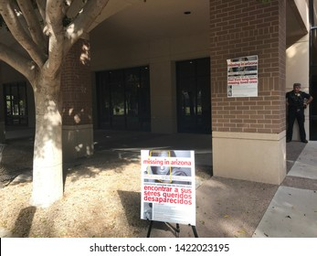 Glendale, Ariz. / US - October 21, 2017: Signs for the third annual Missing in Arizona event, a community outreach program designed to generate or update reports from families of missing persons.