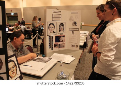 Glendale, Ariz. / US - October 21, 2017: Forensic artist Steve Missal demonstrates his work at the third annual Missing in Arizona event.
