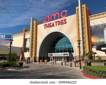 Glendale, Arizona, February 3, 2021: Front of AMC Theater in Westgate