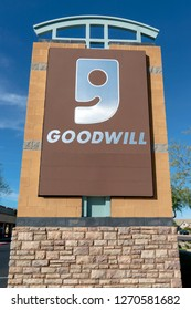 Glendale, Arizona, USA - November 03, 2018: Good will logo in Glandale. Goodwill Industries International Inc., or shortened to Goodwill, is an American nonprofit 501 organization.