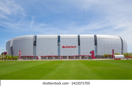 Glendale, AZ, USA - April 06, 2019: State Farm Stadium, formerly known as University of Phoenix Stadium, multi-purpose football stadium located in Glendale, Arizona