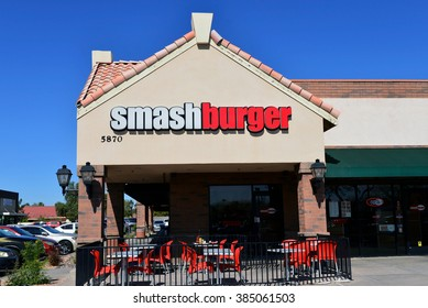 GLENDALE, AZ, USA - FEB 25, 2016:  Smashburger restaurant on W Thunderbird Rd.  It is a burger chain founded in 2007 with Headquarters in Denver .