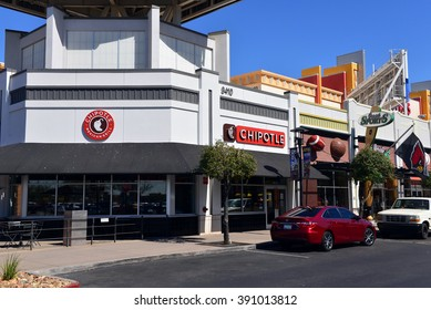 GLENDALE, AZ, USA - FEB 25, 2016:  Chipotle Mexican Grill, a fast food chain with locations in multiple countries and Just Sports store at the Westgate Entertainment District.