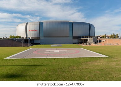 Glendale, AZ, USA - November 03, 2018: State Farm Stadium, is a multi-purpose football stadium located in Glendale. It is the home of the Arizona Cardinals of the National Football League.