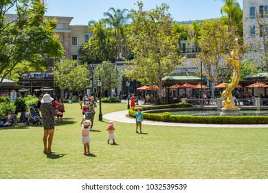 Glendale, CA: August 15, 2015: The Americana at Brand in Glendale. The Americana at Brand is an outdoor luxury mall in Glendale that features a trolley car.
