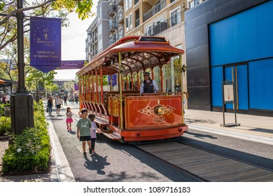 Glendale, CA: May 8, 2018: Trolley car at The Americana at Brand, a luxurious retail and entertainment-based shopping center in Glendale.  The Americana at Brand was started by developer Rick Caruso.