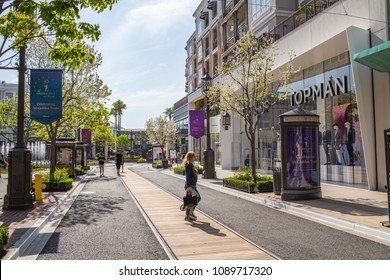 Glendale, CA: May 8, 2018:  The Americana at Brand, a luxurious retail and entertainment-based shopping center in Glendale.  The Americana at Brand was started by developer Rick Caruso.
