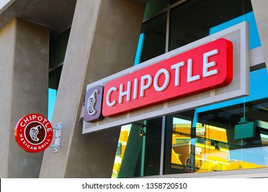 Glendale, California, United States – April 1, 2019: Chipotle Mexican Grill sign. Chipotle restaurant logo. Chain of casual dining restaurants specializing in burritos and tacos. Outdoor facade text.