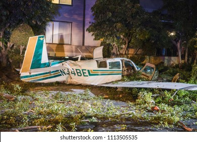 Glendale, California / USA - September 22, 2017: A small passenger plane crashed near the corner of Glenoaks and Allen in Glendale, CA. Nobody in the plane or on the ground was badly injured.