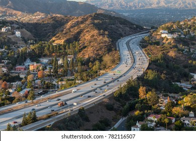 Glendale freeway passing through the Verdugo Hills near Los Angeles in Southern California.