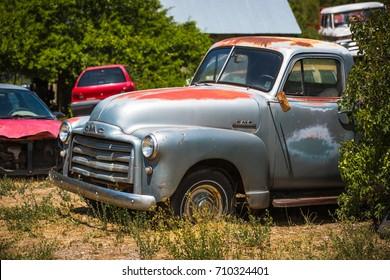 GLENDALE, UT: August 2016 - Old GMC pickup truck in Glendale UT