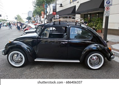 GLENDALE/CALIFORNIA - JULY 15, 2017: Classic Volkswagen Beetle on display at a gathering of like-minded classic car owners in Glendale, California, USA