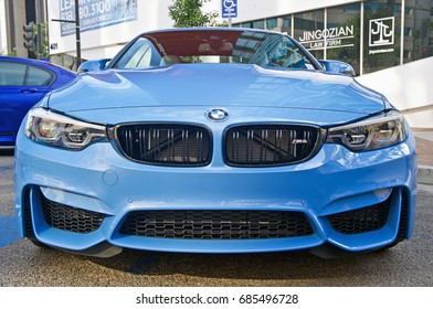 GLENDALE/CALIFORNIA - JULY 15, 2017: Late model BMW sedan on display at a gathering of classic car owners in Glendale, California, USA