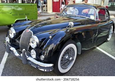 GLENDALE/CALIFORNIA - JULY 19, 2014: 1958 Jaguar XK150 owned by Rafi Kureghian at the Glendale Cruise Nights Car Show July 19, 2014 Glendale, California USA