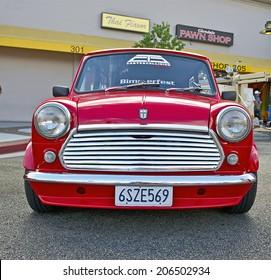 GLENDALE/CALIFORNIA - JULY 19, 2014: 1974 Austin Mini owned by Sevan Ayvazian  at the Glendale Cruise Nights Car Show July 19, 2014 Glendale, California USA