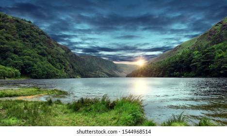 Glendalough Upper lake while sunset, Glenealo valley, Wicklow way, County Wicklow, Ireland