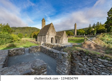Glendalough is a village with a monastery in County Wicklow, Ireland. The monastery was founded in the 6th century by saint Kevin, hermit and priest, destroyed in 1398 by the English army.
