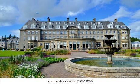 Gleneagles Hotel, luxury golf and spa resort in the Scottish Highlands. Perthshire, Scotland, UK. September 2017